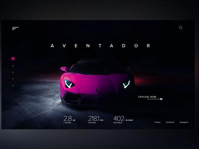 Lamborghini Aventador Web page