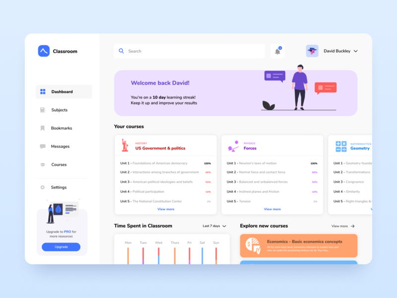 Dashboard for Online Courses - Desktop courses classroom dashboard design study profile ux ui learning app minimal learning subjects interface illustraion education design app chart data dashboad