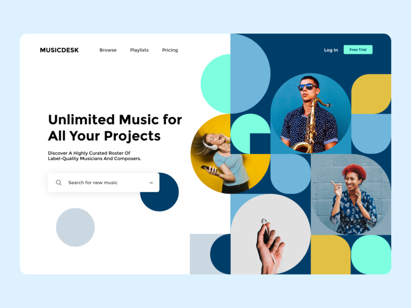 Landing Page Exploration - Music App audio music musician landing page website web design colourful blue web web app overview hero hero section visual identity audio app music art