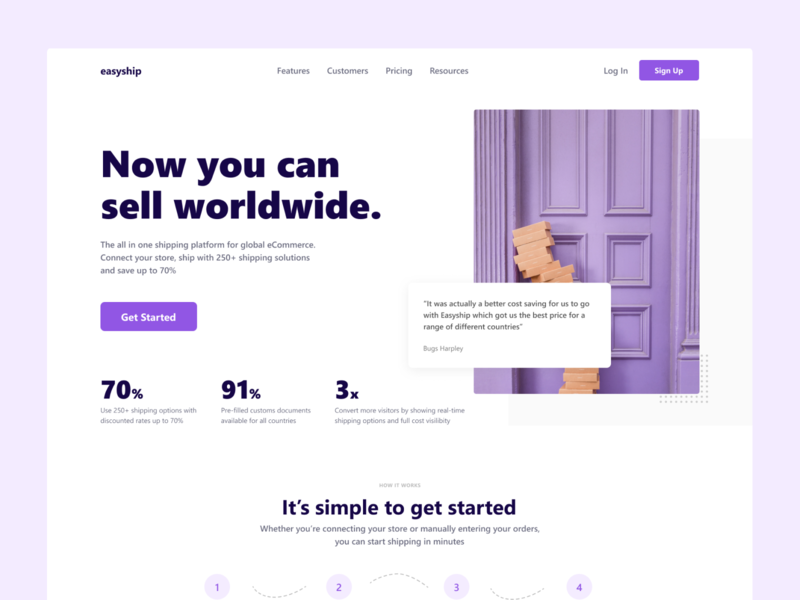 EasyShip Redesign Concept - Homepage saas landing page wordpress web design website uiux user ui shipping saas product design interface enterprise branding b2b b2c application app
