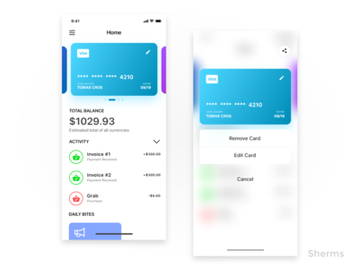 Credit Card App credit card paypal design onboarding iphone ios ui ux iphone x