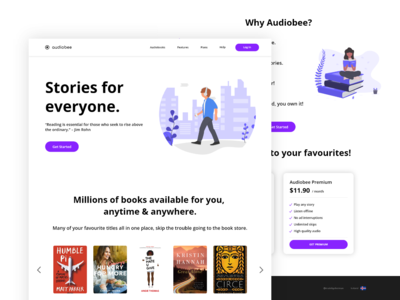 Audiobook & Podcast Landing Page library audiobook player website concept web designer web design webdesign website storefront audiobook podcast app podcast music book