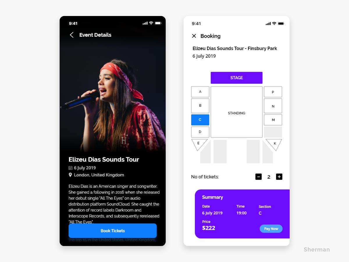 Events & Festival App ecommerce event festive bookings booking booking app concert events app vector design festival ux ui