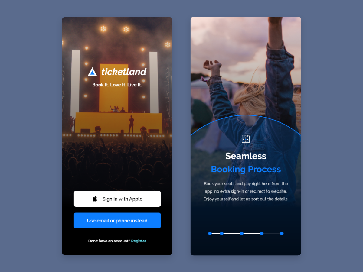 Onboarding Concept for Event & Festival App branding ios vector design iphone x ux ui festival app festive festival events app events concert booking app booking onboarding