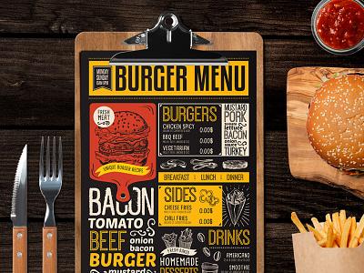 Food Menu For Burger Restaurant template illustration branding burger restaurant menu food