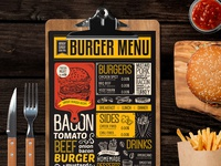 Food Menu For Burger Restaurant