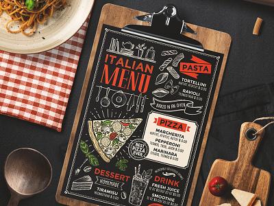Food Menu For Italian Restaurant template illustration branding italian restaurant menu food