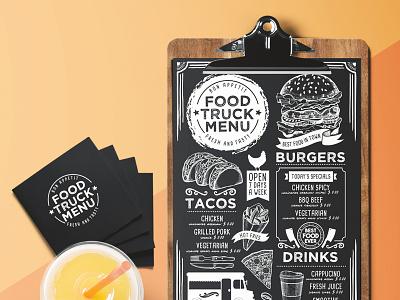 Food Menu Template food truck template illustration branding restaurant menu food