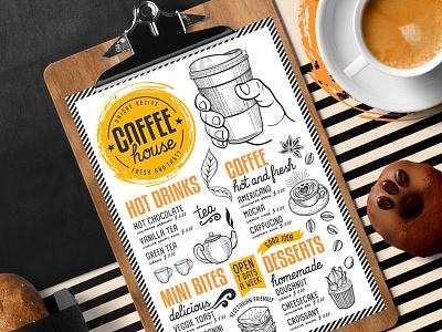 Coffee Menu Template drink illustration menu template branding restaurant bar coffee