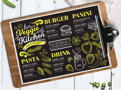 Veggie Menu Template vegetarian template restaurant menu illustration branding food