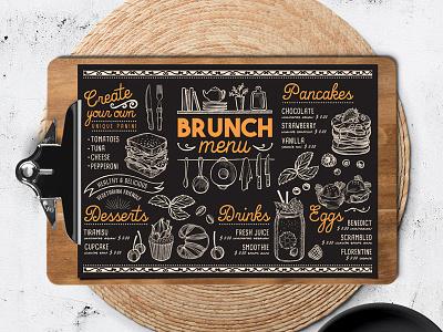 Brunch Food Menu food truck template illustration branding restaurant menu food