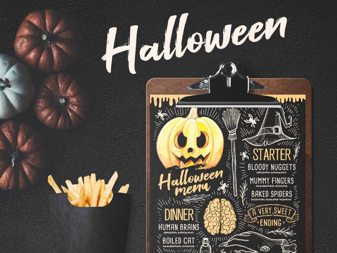 halloween party menu by barcelonadesignshop dribbble dribbble