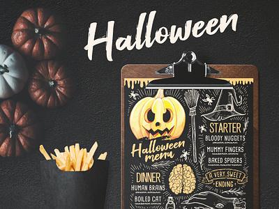 Halloween Party Menu watercolor pumpkin party vintage invitation flyer template halloween design menu illustration restaurant branding