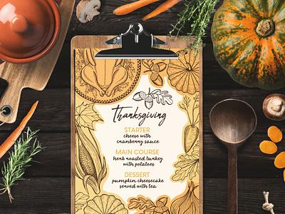 Thanksgiving Food Menu dinner template design turkey pumpkin thanksgiving food menu illustration restaurant branding