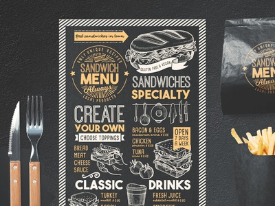Sandwich Food Menu blackboard illustration sandwich template design food menu restaurant branding