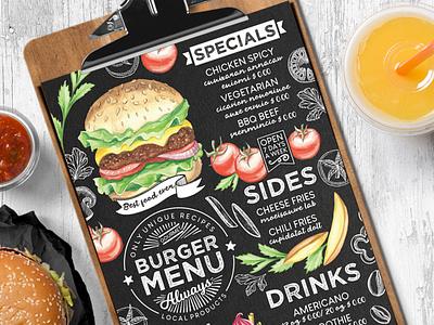 Burger Food Menu watercolor placemat brochure illustration burger blackboard design food menu template restaurant branding