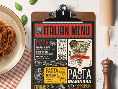 Italian Food Menu pizza brochure illustration logo branding blackboard design food menu template restaurant