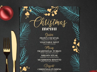 Christmas Party Menu party brochure design holiday festive christmas blackboard branding illustration food menu template restaurant