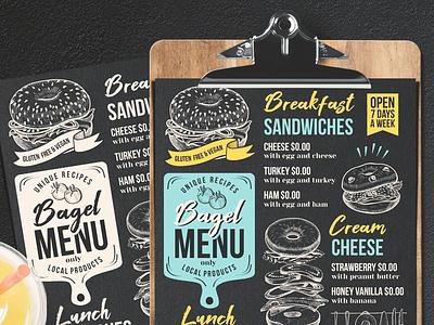 Bagel Menu sandwich bagel food truck brochure blackboard design food menu template restaurant illustration branding