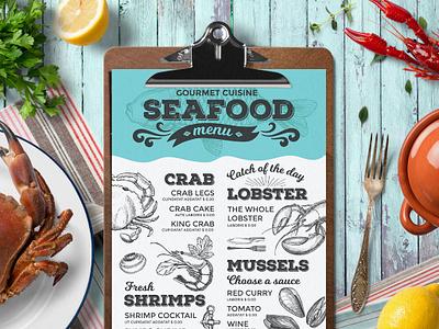 Seafood Menu seafood menu food illustration brochure design template restaurant branding