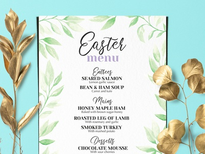 Easter Brunch Menu watercolor template brochure design food illustration restaurant menu branding easter