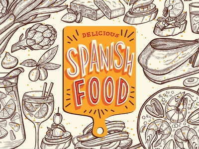 Spanish Food Illustrations design branding graphic jamon paella catalan spanish menu restaurant food illustration