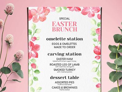 Easter Special Brunch Menu easter watercolor brochure design food template restaurant menu branding illustration