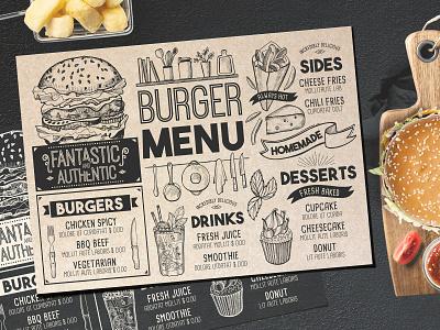 Burger Menu Template cafe placemat card design vintage burger blackboard brochure design food template restaurant menu branding illustration