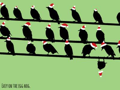 Christmas Birds 2012 skinnyd james bratten christmas card 2012 birds santa hat screen print