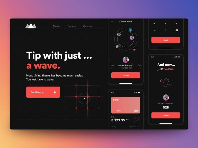 Hero for ios tipping app money bank inspiration card cursor web mobile wave tipping tip dark apple spotify ux minimal app design ui interface clean
