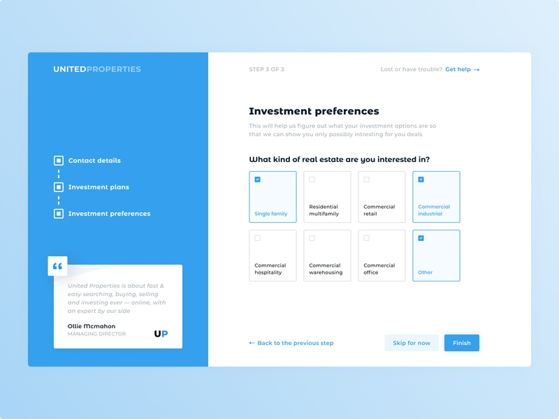 Investment preferences exploration inspiration quote stepper checkbox investment preferences property investing real estate blue onboarding ux minimal design interface ui clean
