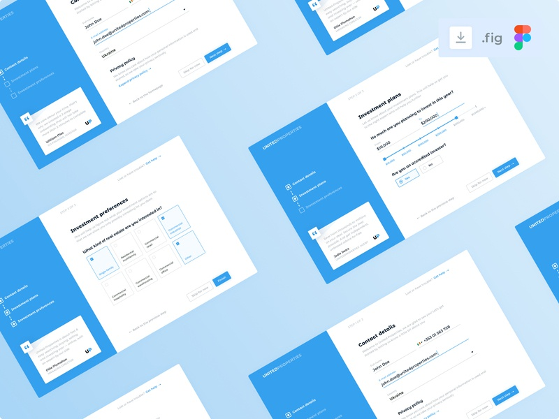 User onboarding menu stepper process user onboarding figma download quote investments investing real estate inpiration collage blue ux design interface ui clean