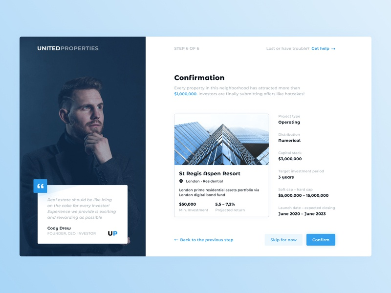 Confirmation investing investment card onboarding quote confirmation creation listing minimal uiux ux design interface ui clean