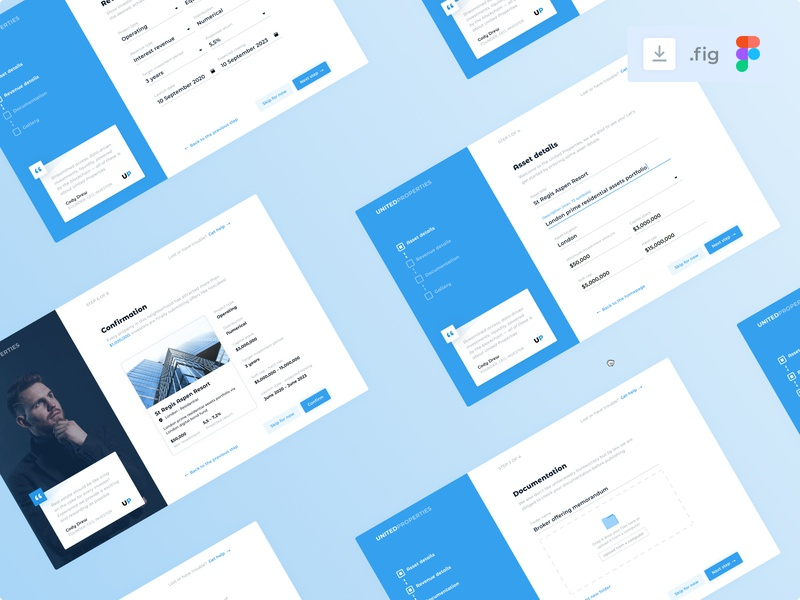 Listing creation download collage card stepper process creation listing quote investing investments blue real estate onboarding uiux ux minimal design interface ui clean