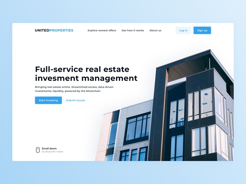 Hero for the real estate investing platform's landing page inspiration landing page property mouse scroll hero title investments investing blockhain house real estate blue uiux ux minimal design interface ui clean
