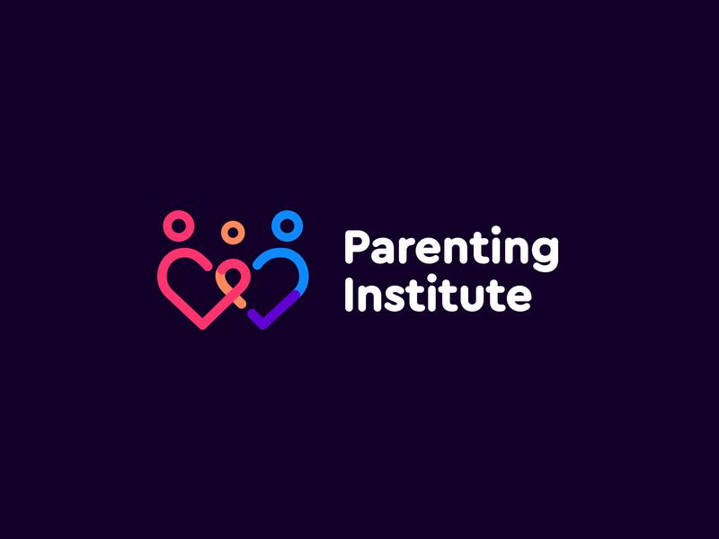 Parenting institute logo iconography institute parenting logotype logomark friendly playful colorful joyful flat typography icon branding logo illustration minimal design ui clean