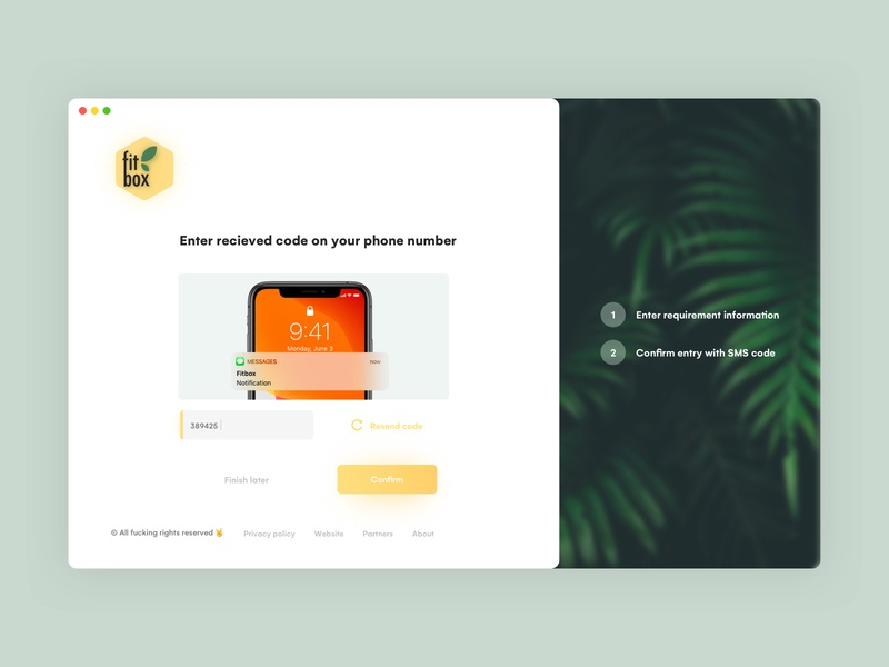 Phone confirmation iphonex uidesign yellow style entry sign up sign in log in onboarding page screen confirmation verification uiux ux vector ui design interface clean