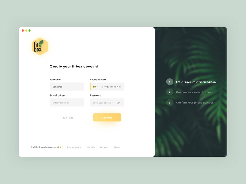 Sign up uidesign uiux onboarding onboarding ui vector design ui interface clean yellow screen login page login log in sign up sign in registration creation account