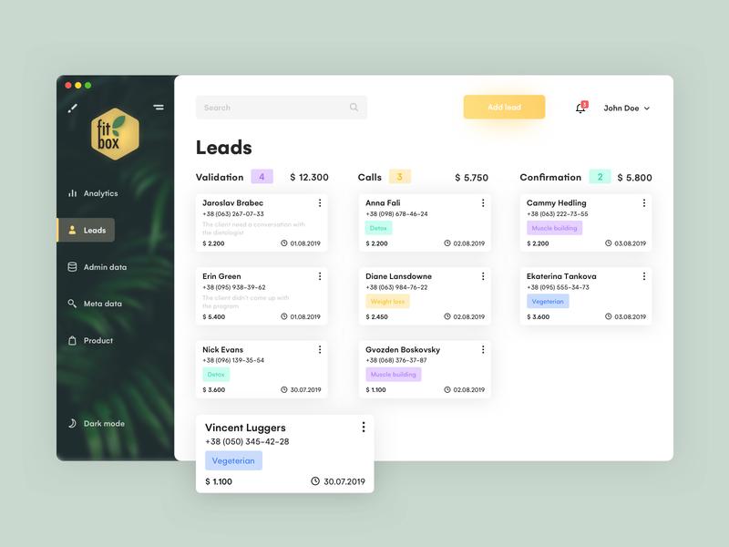 Leads tab minimal task pipeline interface uiux design ui clean app dashboard dashboard app dashboard ui card boards crm leads lead