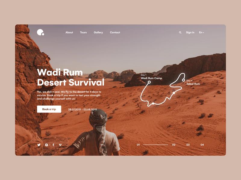 Travel website ux minimal typogaphy orange photo muzli vacation travel desert trip tour sand africa safari neon roadmap design ui interface clean
