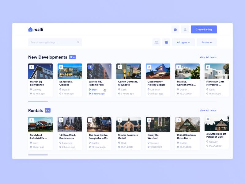 Real estate agent dashboard house leads admin panel purple rental real estate sort filter cards ui cards card crm dashboard ux minimal app design ui interface clean