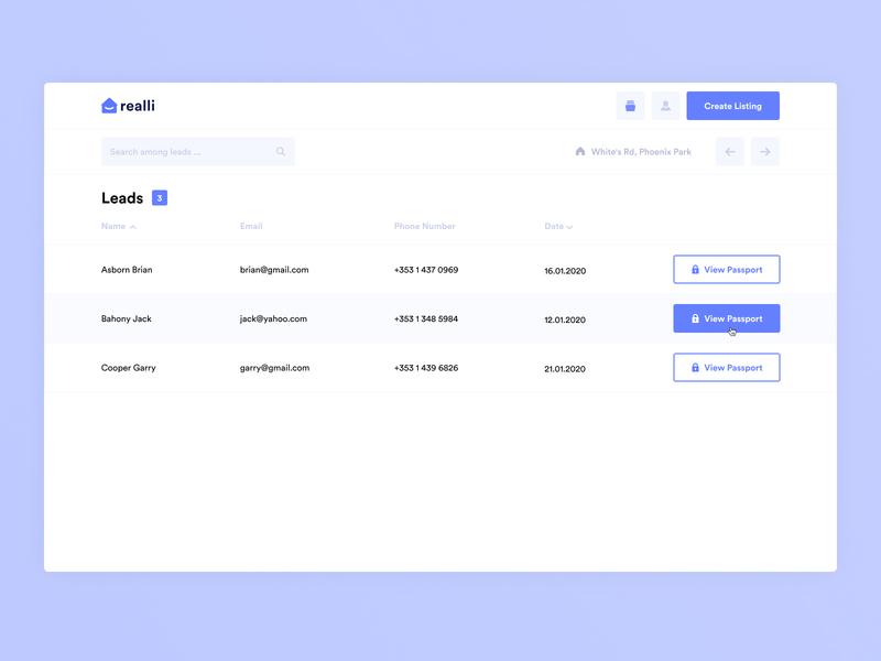 Leads tab agent real estate house lists list purple admin panel admin data leads dashboard app crm dashboard minimal ux app design ui interface clean