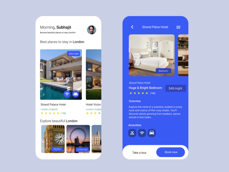 Hotel reservation app UI Design dribbble invite animation london eye london hotel hotel app invite android ux app dribbble illustration graphic adobe graphic design 2d ui figma design branding