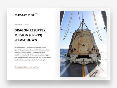 SpaceX News Article UI Design