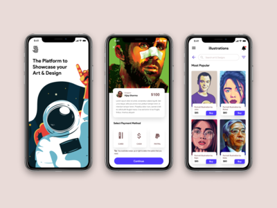 Art & Design Showcasing Platform UI Design