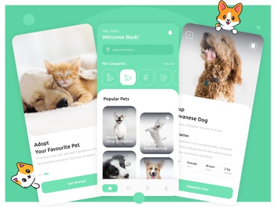Pet Adoption App pet app application figma creative inspiration pet adoption adoption adopt petstore pet care pets pet uiux app design app design ui ux