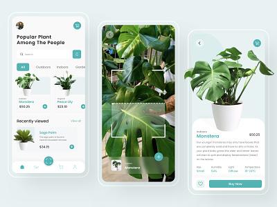 🌿 Plant Identifier App mobile garden flower glowing nature creative shop dribbble ux ui design scan ar app aplication design aplication design app app design app plants plant