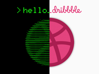 Hello Dribbble programming minimalism logo art design split code terminal hello dribbble dribbble debut