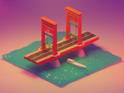 Ampera Bridge 3D Model (Palembang Landmark)