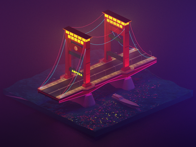 Ampera Bridge at Night 3D Model (Palembang Landmark).